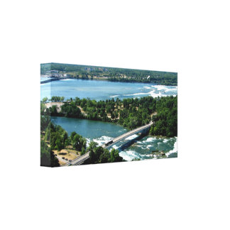 Der Niagara Fluss Luftaufnahme #2 wickelte Leinwan Leinwanddruck