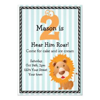 Der niedliche Geburtstag des Löwe-Jungen 12,7 X 17,8 Cm Einladungskarte