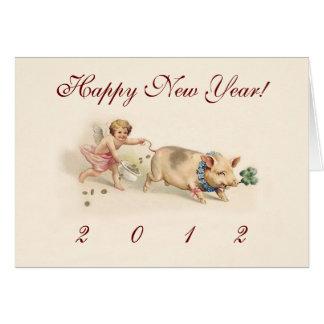 Der niedliche lustige Feiertag des Schwein-und Karte
