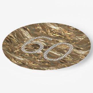 Der Nr.-60 Jahrestags-Gold Diamant-der Pappteller 22,9 Cm