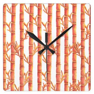 Der orange Bambusgarten Quadratische Wanduhr