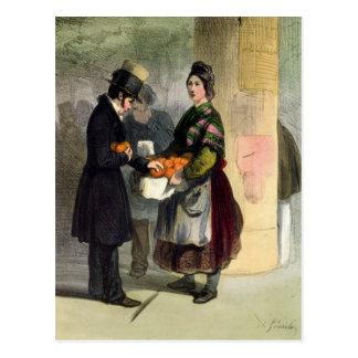 Der orange Verkäufer, von 'Les Femmes De Paris Postkarte