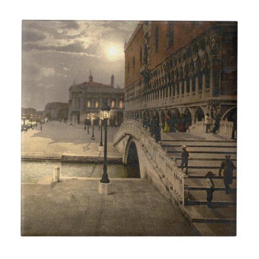 Der Palast des Doges durch Mondschein, Venedig, It Keramikfliesen