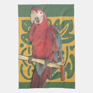 Der Papageien-Scharlachrot Kunst-Nouveau Küchentuch