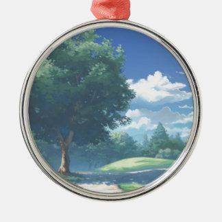 Der Park der Natur Rundes Silberfarbenes Ornament