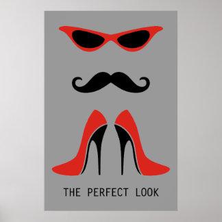Der perfekte Blick in Schwarzem u. im Rot Plakatdrucke