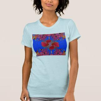 Der Petite blaue T - Shirt 2X der Frauen mit Blume
