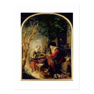 Der Pfannkuchen-Verkäufer, 1650-55 (Öl auf Platte) Postkarte