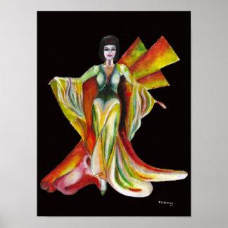 Der Phoenix-Leinwandkunstdruck, weibliche Zahl Poster