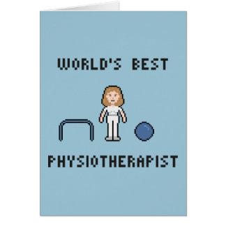 Der Physiotherapeuten-Gruß-Karte 8 Bit-Welt beste Grußkarte