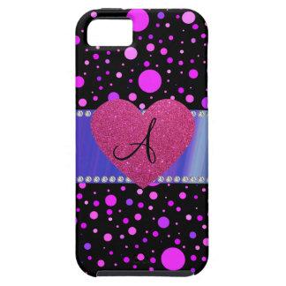 Der Polkapunkte des Monogramms lila rosa Herz iPhone 5 Etui