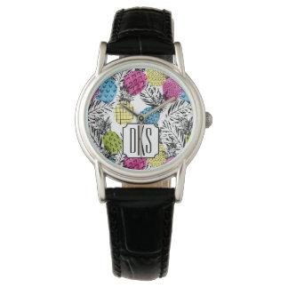Der Pop-Kunst-Ananas-und Palmblatt-| Monogramm Armbanduhr
