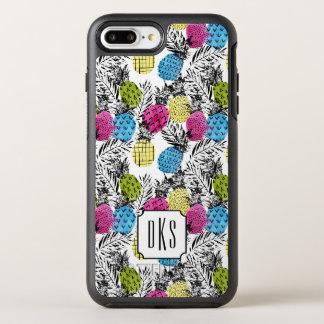Der Pop-Kunst-Ananas-und Palmblatt-  Monogramm OtterBox Symmetry iPhone 8 Plus/7 Plus Hülle