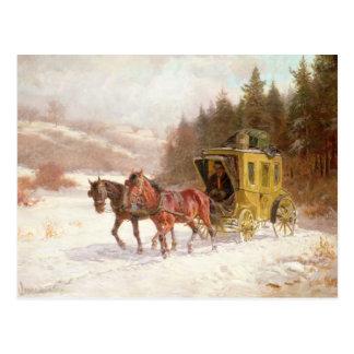 Der Posten-Zug im Schnee Postkarte