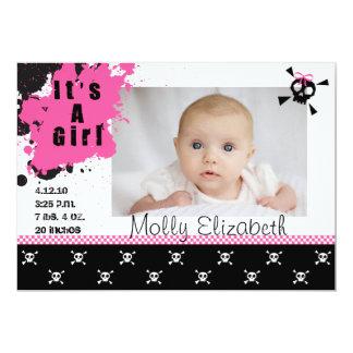 Der Punkrock-Geburts-Mitteilung des Mädchens 12,7 X 17,8 Cm Einladungskarte