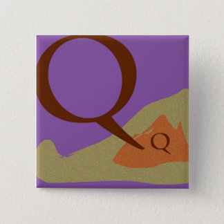 Der quadratische Knopf des Buchstabe-Q Quadratischer Button 5,1 Cm