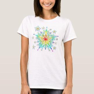 Der Regenbogen-Eiskristall-Schneeflocke-T - Shirt