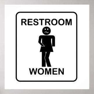 Der Restroom-Zeichen der lustigen Frauen