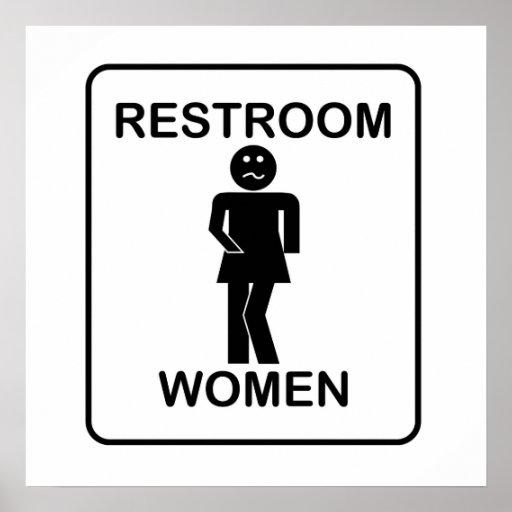 Der Restroom-Zeichen der lustigen Frauen Plakat
