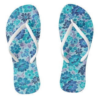 Der Retro Blumen-Power drehen Reinfall-Aqua-Blau Flip Flops