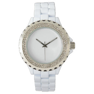 Der Rhinestone-weiße Email-Uhr der Frauen Armbanduhr