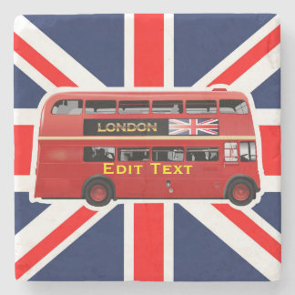 Der rote London-Doppeldecker-Bus Steinuntersetzer