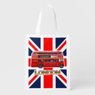 Der rote London-Doppeldecker-Bus Wiederverwendbare Einkaufstasche
