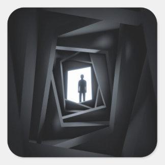 Der Schatten-Mann Quadratischer Aufkleber