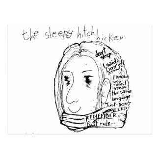 Der schläfrige Tramper Postkarte