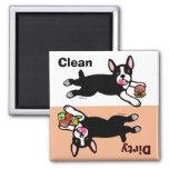 Der schmutzige Boston-Terrier-Cartoon/säubern Magnete