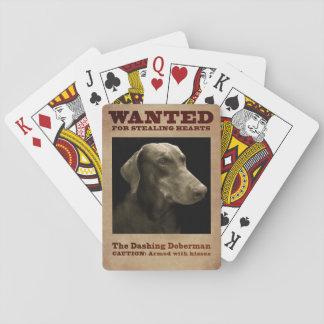 Der schneidige Dobermann Spielkarten
