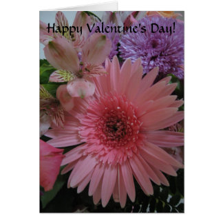 Der schöne rosa und lila Tag Blumenvalentines Karte