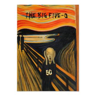 Der Schrei - lustiger 50. Geburtstag Personalisierte Ankündigungskarte