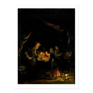 Der Schulmeister, 1660-65 (Öl auf Platte) Postkarte
