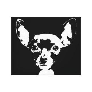 Der schwarze Chihuahua u. das Weiß wickelten Leinwanddruck