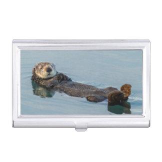 Der Seeotter, der an schwimmt, ziehen sich im Visitenkarten Etui