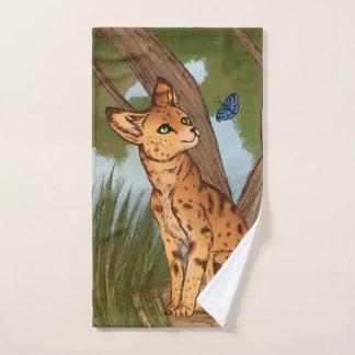 Der Serval und der Schmetterling Badhandtuch Set