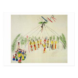 Der Shoshonesun-Tanz (Pigment auf Musselin) Postkarte