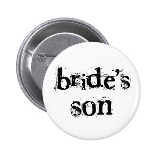 Der Sohn-Schwarz-Text der Braut Runder Button 5,1 Cm