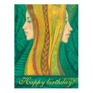 Der Sommer, Waldphantasiekunst, Geburtstagsgrüße Postkarten