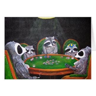 Der spielende Poker des Racoons Karte