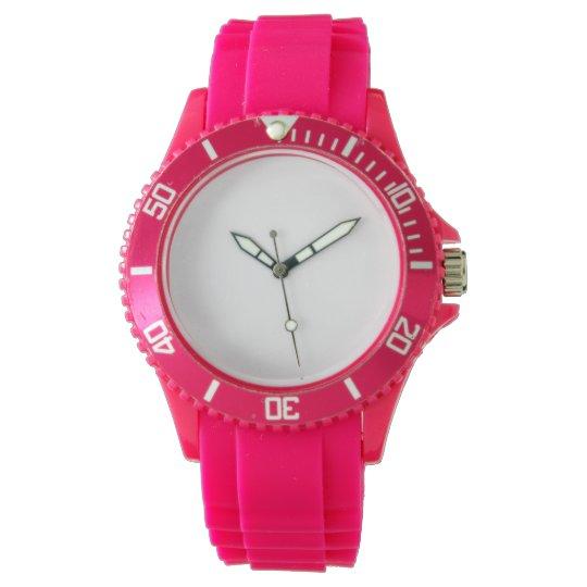 Custom Sportliche rosa Silikon Damenuhr