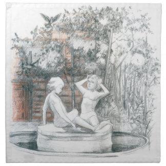 der Stadtbrunnen mit Figürchen der Mädchen Stoffserviette