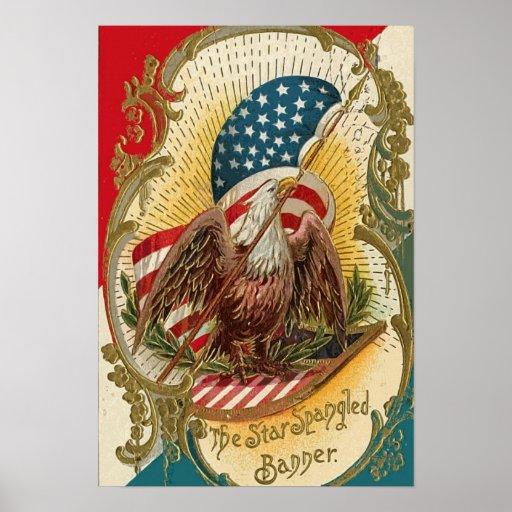 Der Stern Spangled Fahnen-Eagle-Flagge-Druck Plakat