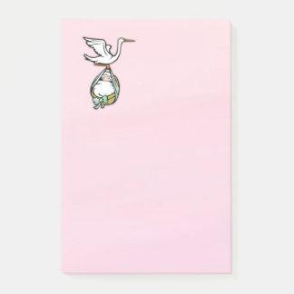 Der Storch trägt ein Baby Post-it Klebezettel