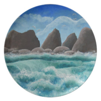 Der Strand am Ozeanufer Melaminteller