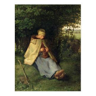 Der Stricker oder, der SitzShepherdess, 1858-60 Postkarte