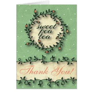 Der süße Erbsen-Tee-Geburtstag -grün danken Ihnen Karte