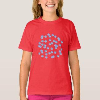 Der T - Shirt der blauen Polka-Punkt-Mädchen