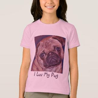 Der T - Shirt des Mops-Welpen-Gesichts-Mädchens
